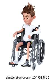 3D rendering of a sad cartoon boy with a broken arm and leg sitting in a wheelchair. White background.