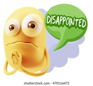 3d Rendering Sad Character Emoticon Expression saying Disappointed with Colorful Speech Bubble.