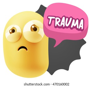3d Rendering Sad Character Emoticon Expression saying Trauma with Colorful Speech Bubble.