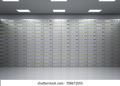 3d rendering safe deposit boxes inside bank vault