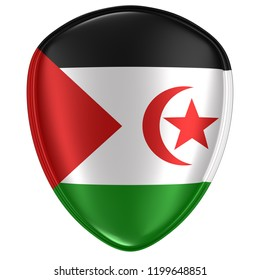 3d rendering of a Sahrawi Arab Democratic Republic flag icon on white background.