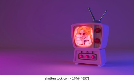 3d rendering Sailor Moon on tv channel. Pink retro television set with buttons. Neon light wallpaper