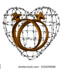 3D rendering. Same-sex marriage logos inside barbed wire in the shape of a heart. The concept of same-sex marriage.