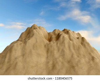 3D rendering of sand heap with blue cloudy sky