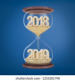 3d rendering of sandglass with '2018' sand sign in upper glass bulb and '2019' sand sign in lower glass bulb on blue background. Time measuring. Time planning. Business and management.