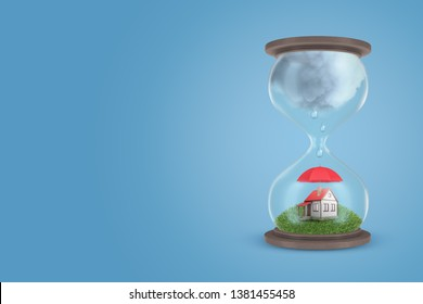 3d rendering of sandglass with green grass and little house protected by umbrella in lower half of sandglass, and with big grey rain cloud in upper half. Mortgage. Housing issue. Expiration of lease.