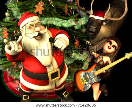 3d rendering of santa claus with heavy metal greeting with a christmas tree reindeer and guitarist - Heavy Metal Christmas Decorations