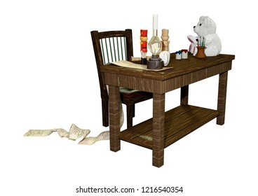 3D rendering of a Santa's Christmas workstation isolated on white background