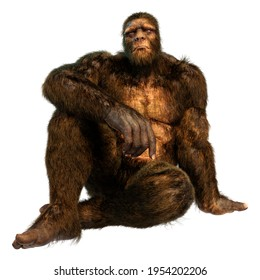3D rendering of a Sasquatch or Bigfoot isolated on white background