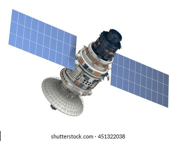 3d rendering satellite isolated on white
