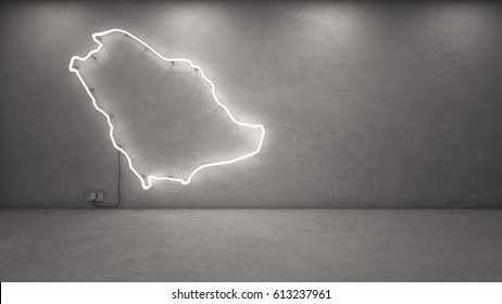 3d rendering of Saudi Arabia neon map on concrete wall