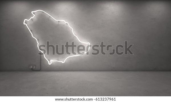 3d Rendering Saudi Arabia Neon Map Stock Illustration 613237961
