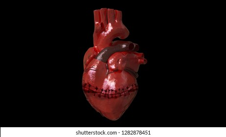 3D rendering saw real heart with needle.