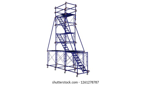 3D rendering scaffolding frame 3 floors Japanese standard type isolated on white background. Can be fill dimension or other safety standard. Use for construction content or scaffolding rental vendor.