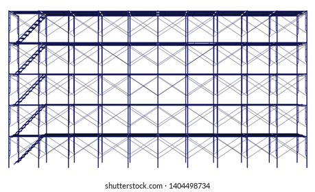 3d Rendering Scaffolding frame 5 floors Japanese standard type isolated on white background. Can be fill dimension or other safety standard by user. Use for construction content or scaffolding vendor.