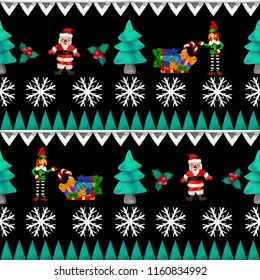 3D rendering Scandinavian Christmas vintage  jacquard seamless border