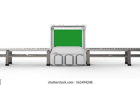 3d rendering scanner machine with empty conveyor belt