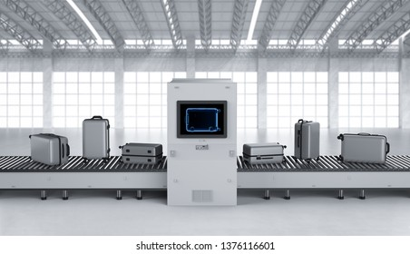 3d rendering scanner machine is scanning luggage in airport