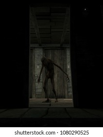 3d rendering of a scary monster creatures in a haunted house
