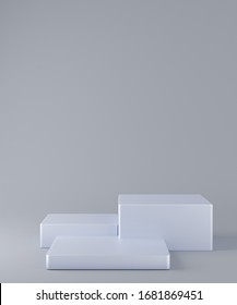 3d rendering scene with composition empty silver cube podium for cosmetic product presentation & abstract background. Mockup Geometric shape in white colors. Minimal design empty space.