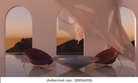 3D rendering scene with conceptual ambient futuristic living space with walls andlate evening sky on background