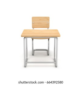 3d rendering of a school desk and chair both are made of iron and light wood isolated on white background. Teaching class. Students and pupils. Furniture for school.