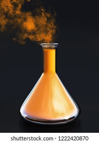 3D rendering of a science experiment with a beaker filled with an orange liquid and with smoke coming out from it. Black background.