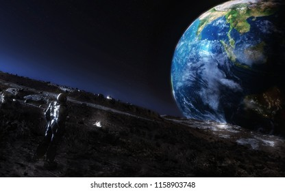 3D rendering of a science fiction concept astronaut observing planet earth from the moon surface