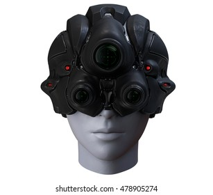 3D rendering science fiction helmet