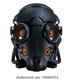 3D rendering science fiction helmet on white background