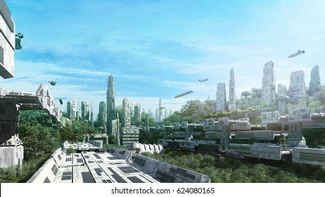 3D Rendering Scifi lost city in the jungle in the future