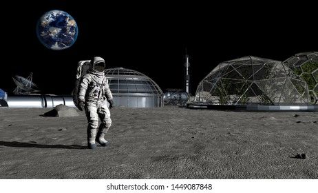 3D rendering. Sci-fi scene. The colony of the future on the moon. Astronaut walking on the moon. CG Animation. Elements of this image furnished by NASA.