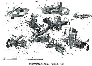 3D rendering of Scrap space ship parts and debris 3
