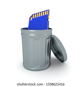 3D Rendering of SD Card thrown into the trash.