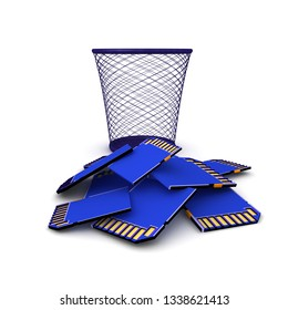 3D Rendering of SD Cards thrown into trash. 3D Rendering isolated on white.