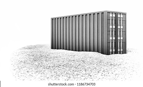 3d rendering of sea freight container on gravel ground, monochrome image, isolated