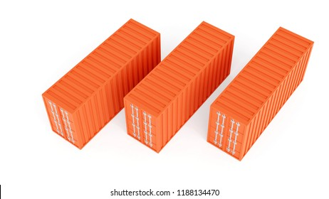 3D rendering of sea freight containers. view from above