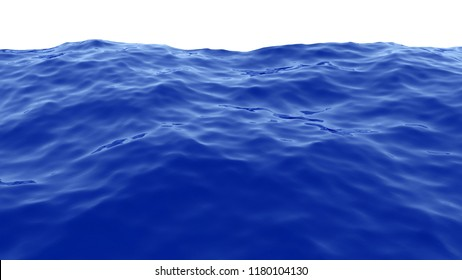 3D rendering of Sea waves with blue water isolated on white background