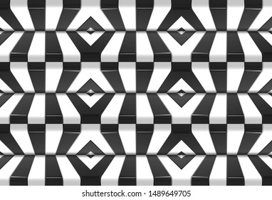 3d rendering. seamless alternate black and white pattern design wall background.