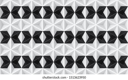 3d rendering. seamless modern Alternate white and black star grid art pattern wall background.