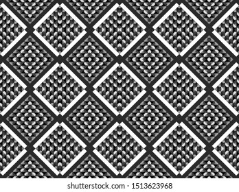 3d rendering. seamless modern Alternate white and black grid square art pattern wall background.