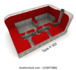 3D rendering of a section of a bunker showing the interior