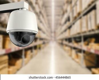 3d rendering security camera or cctv camera in store