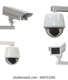 3d rendering security camera or cctv camera isolated on white