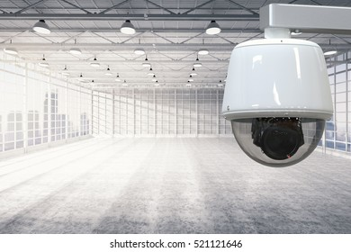 3d rendering security camera or cctv camera in empty factory