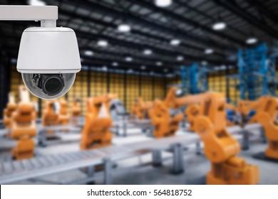3d rendering security camera or cctv camera in factory