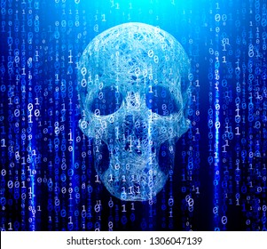 3d rendering, Security Concept. Skull of binary code. Piracy on the Internet.