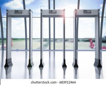 3d rendering security gates or metal detectors in airport