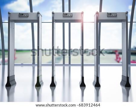 3 d rendering security gates metal detectorsのイラスト素材 683912464