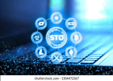 3D Rendering of Security Token Offering (STO) and digital binary numbers overlay on blur notebook and keyboard. Alternative future for crypto currency New option of buying digital tokens.